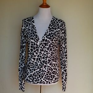Ann Taylor Loft Medium Black White Button Cardigan